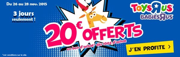 Toys R Us promo Lego 20€ offerts