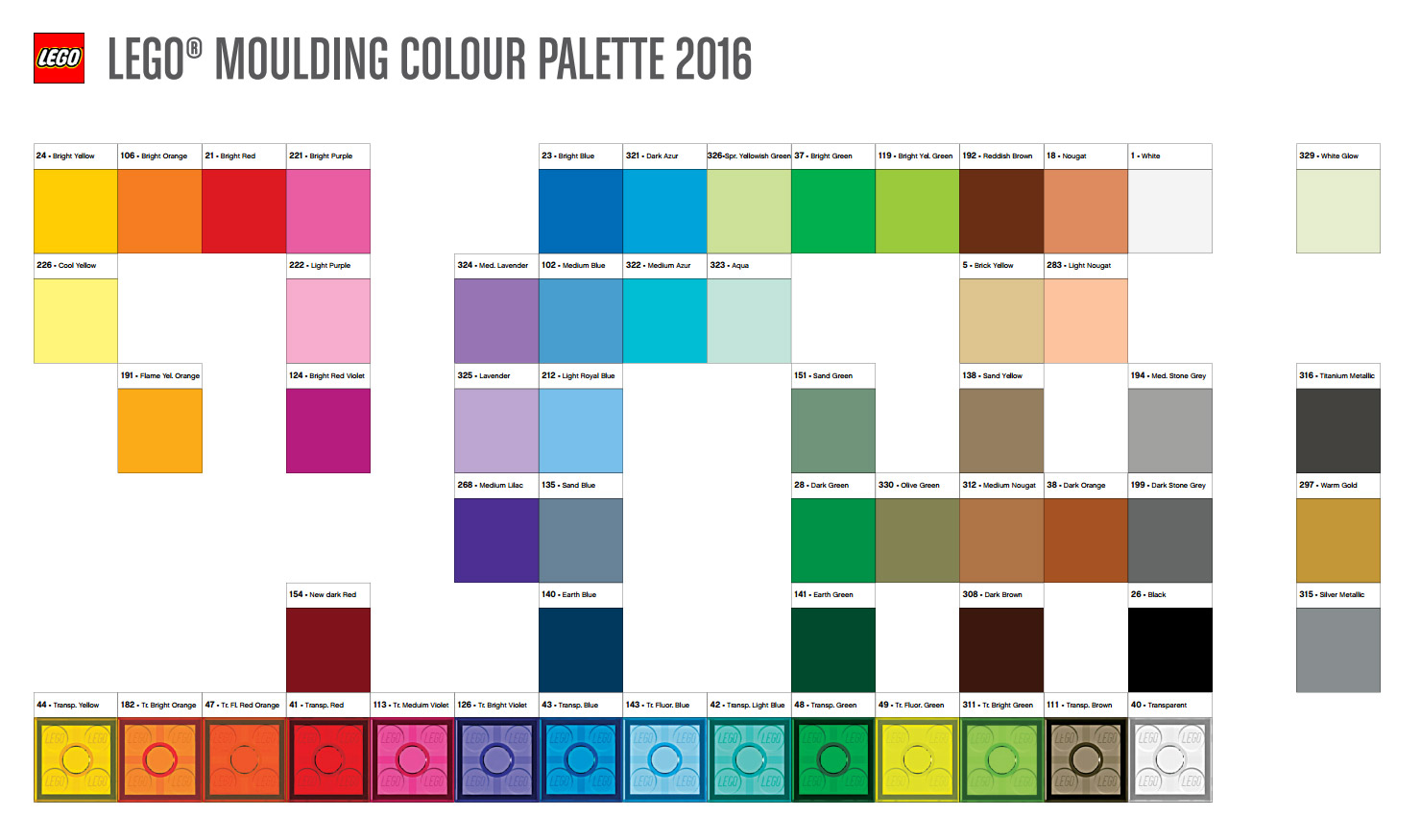 couleurs lego la palette 2016 hellobricks blog lego. Black Bedroom Furniture Sets. Home Design Ideas