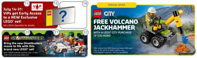 Promotions LEGO juillet 2016