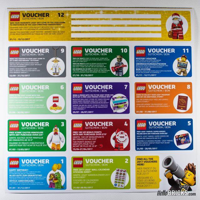 Calendrier LEGO 2017 vouchers