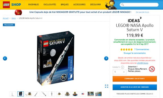 LEGO Ideas 21309 NASA Apollo Saturn V en stock