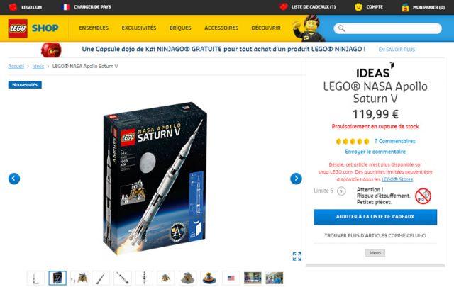 LEGO Ideas 21309 Saturn V fiche produit