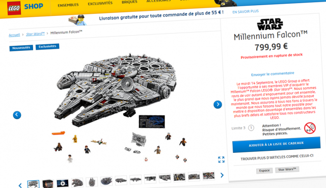 LEGO 75192 UCS Millennium Falcon indisponible
