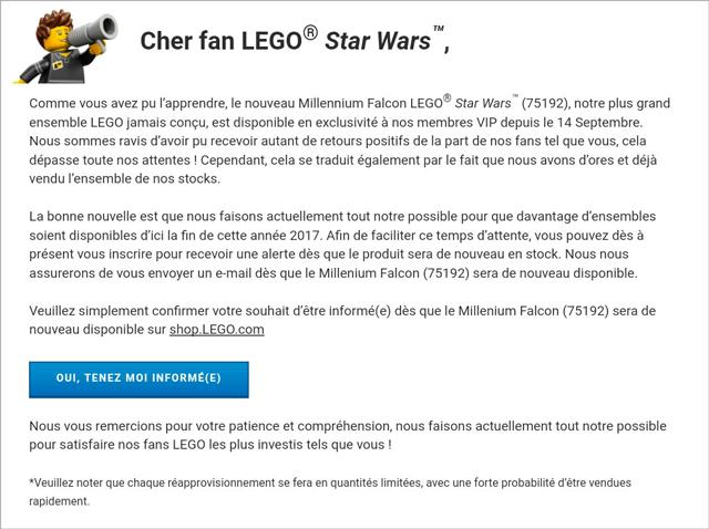 email LEGO UCS Millennium Falcon 75192