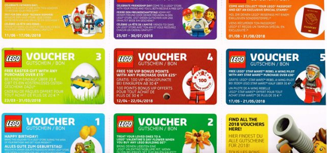 Calendrier officiel LEGO 2018 vouchers