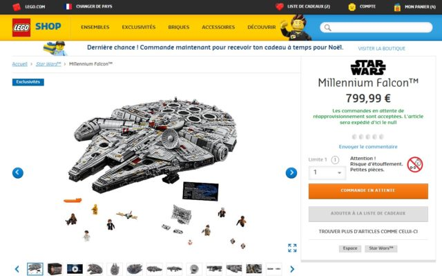 LEGO Star Wars 75192 Millennium Falcon UCS commandes en attente
