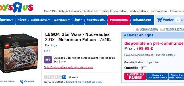 Précommande LEGO Star Wars 75192 Millennium Falcon UCS chez Toys R Us