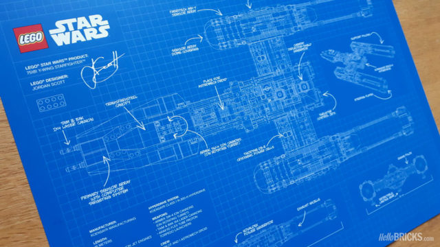 LEGO Star Wars black VIP Card Y-Wing Blueprint