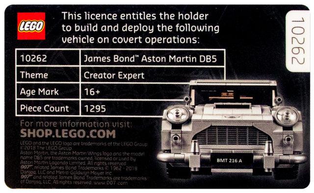 Permis de Construire LEGO 10262 James Bond Aston Martin DB5