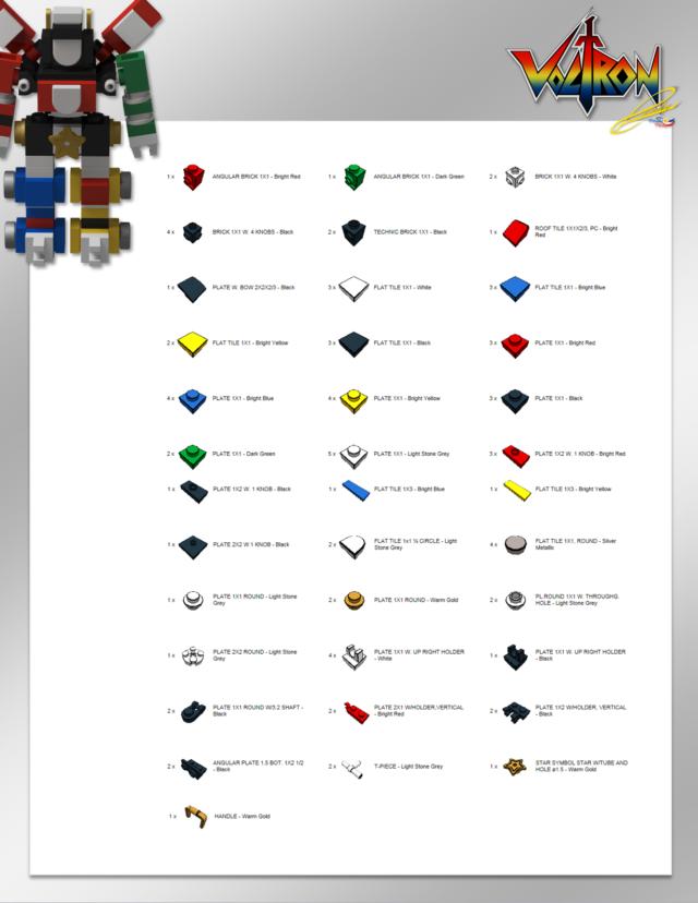 Micro LEGO Voltron inventaire