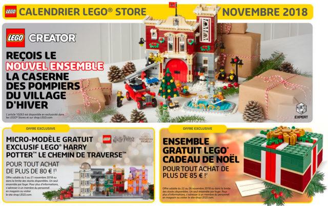 LEGO Store calendar France Nov 2018