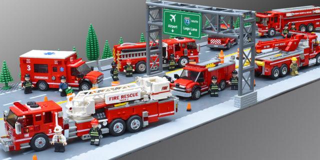 LEGO Fire Department Task Force 3 - Camions de pompiers