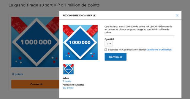 million points LEGO VIP