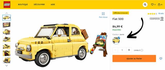 LEGO Fiat 500 option couleur