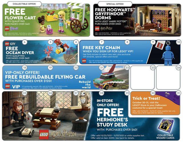 LEGO Store Calendar US october 2021